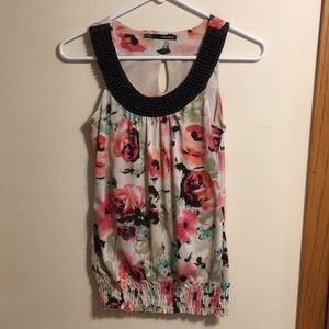 Maurices floral sleeveless top with beaded neck